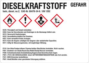 Aufkleber mit dem Zeichen für die Gefahren von Dieselkraftstoffen