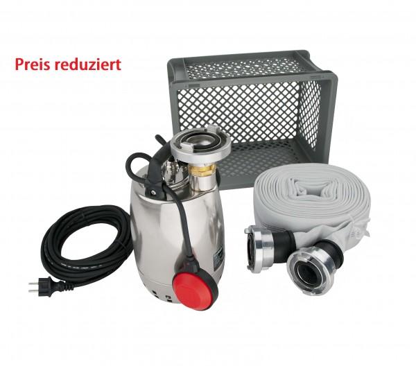 Flutbox mit Schlauch zur Förderung von Schmutzwasser mit Feststoffen