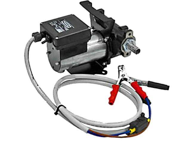 Gesamtansicht der Pumpe mit Tragegriff und Batteriekabel mit Klemmen