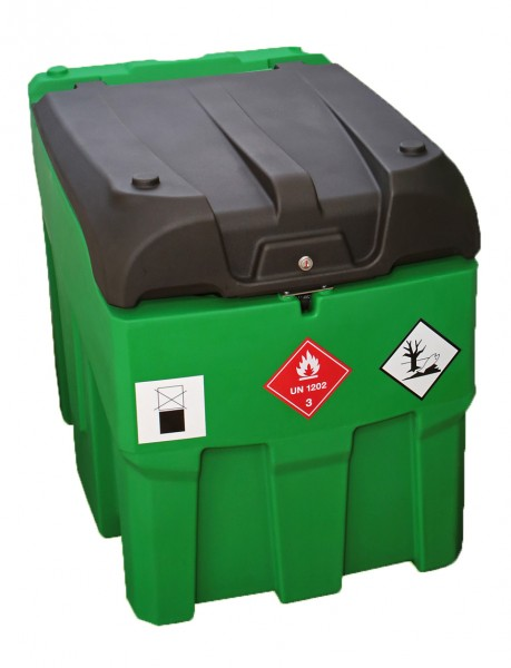 Außenansicht auf grüne mobile Tankanlage mit schwarzem Deckel