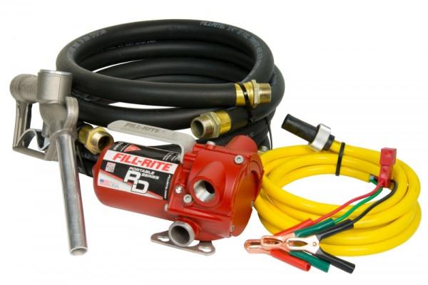 Set in der Übersicht, Pumpe, Schläuche und Batteriekabel