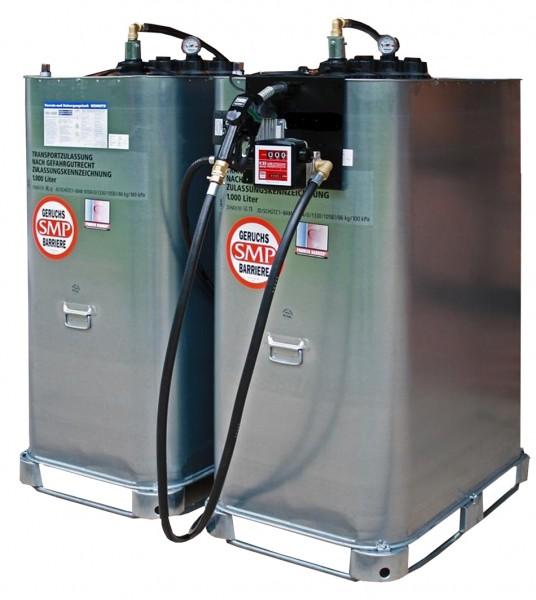 2000l Tankstelle aus zwei 1000 Liter Tanks mit Pumpe und Verbindungsschläuchen