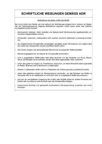 Schriftliche Anweisungen gemäss der ADR