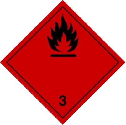 Aufkleber mit Zeichen für Gefahrzettel Klasse 3. Rotes Quadrat mit einer Flamme