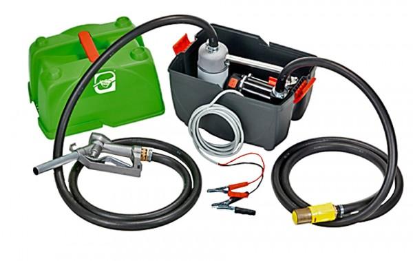 Geöffnete Box mit installierter Pumpe und Zubehör